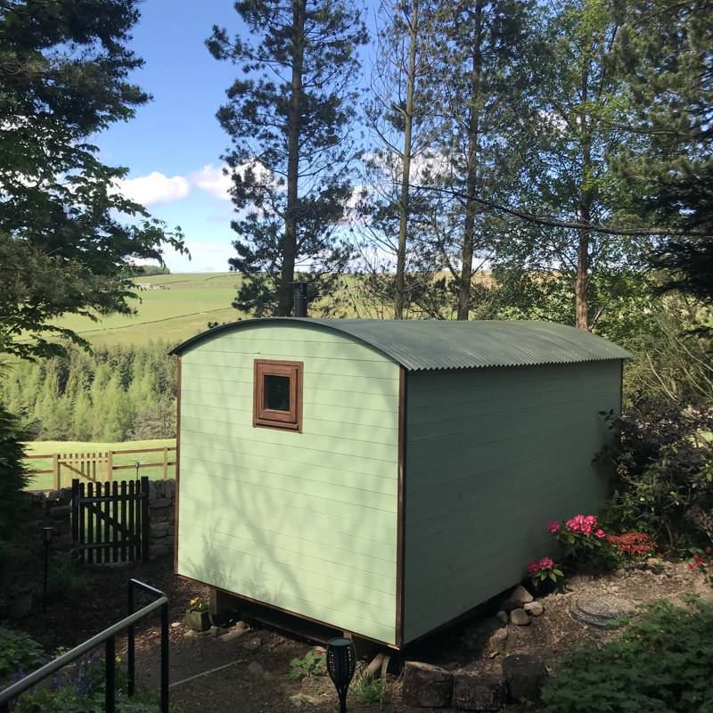 The shepherd's hut at the Quirky Quarry has a secluded setting and enjoys views across the moors.