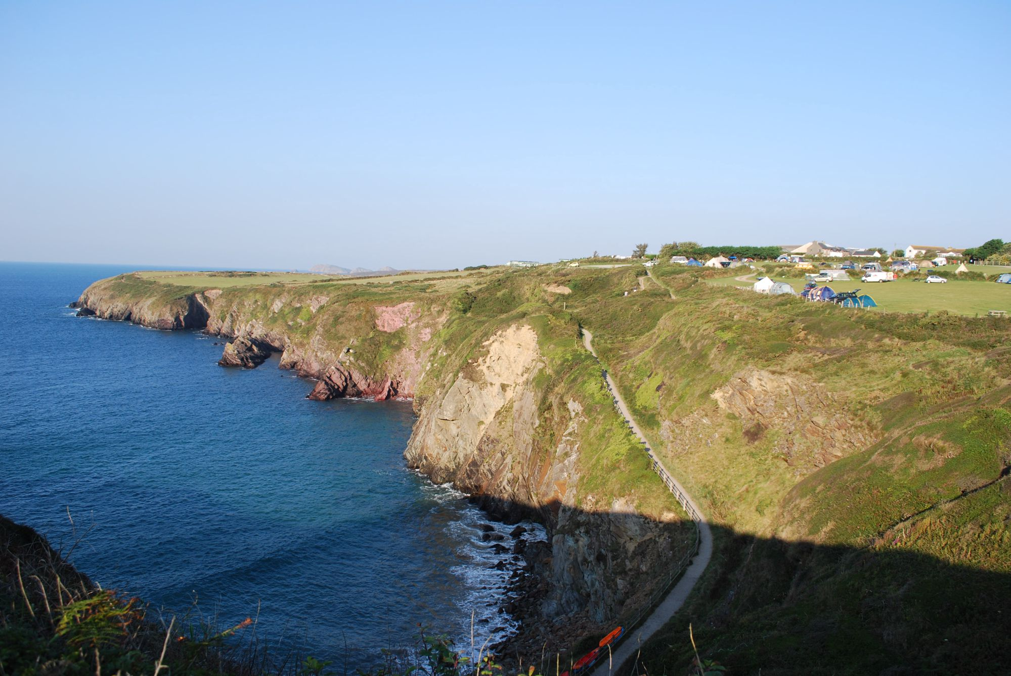 Just before you reach the 'city' of St David's (Ty-ddewi), there's a small turning by the visitor centre.