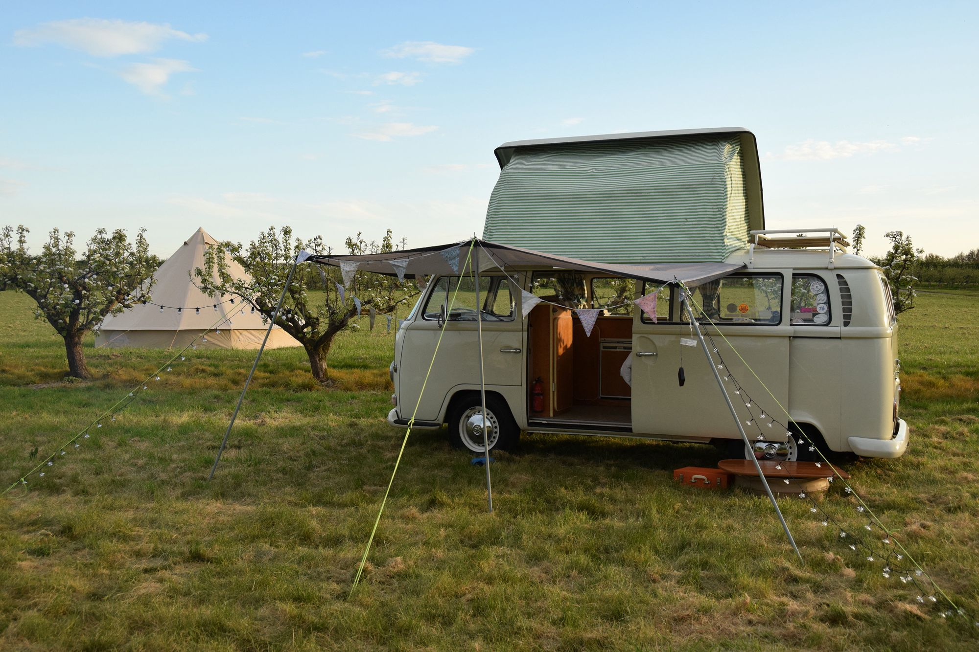 Traditional family camping and bell tent glamping on a working fruit farm, two miles from the beautiful inlet town of Sandwich in Kent.