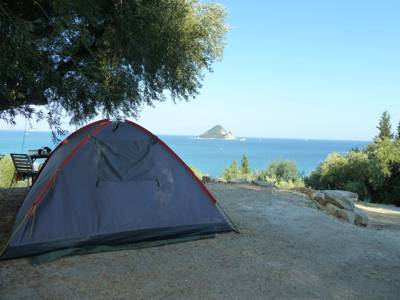 Great cuisine and arguably the best view of any campsite in Greece.