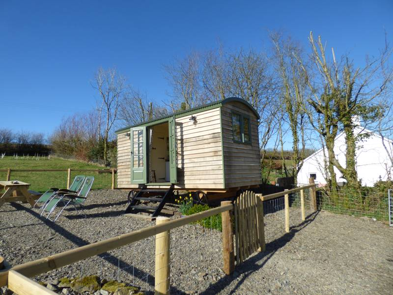 The two-person shepherd's hut at The Three Spaniels in Ceredigion.