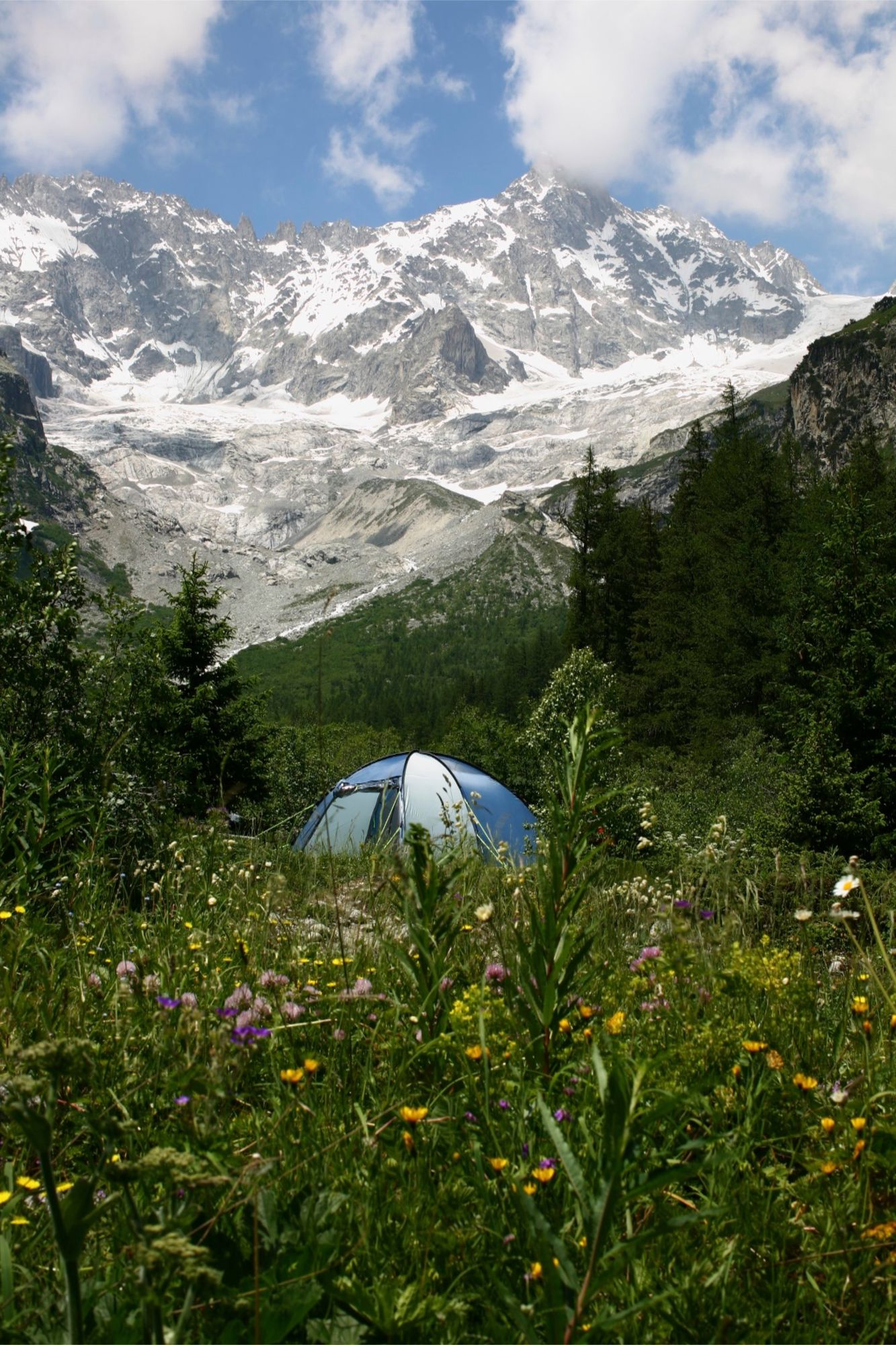 Alpine meadows, forest glades, mountain glaciers, crystal air, wild flowers underfoot, puffy white clouds overhead – this Swiss campsite couldn't be more idyllic.