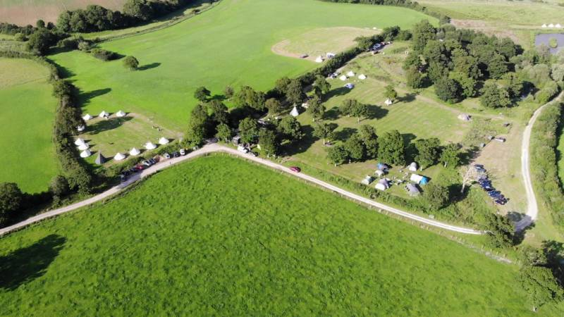 An aerial view of New Wharf Campsite in Sussex, just north of the South Downs National Park.