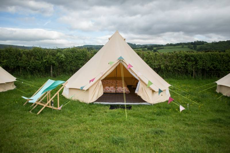 A bell tent at Glamping Wales.