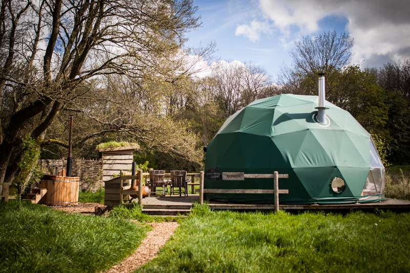 The Cosy Under Canvas domes are set apart from each other in a small private woodland