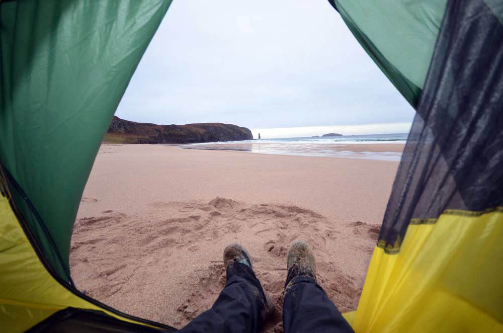 Wild camping by the beach