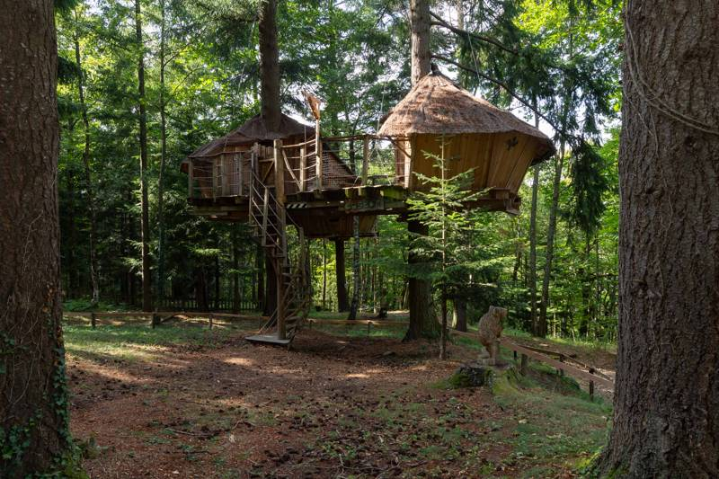 The Castor – beaver – family tree house at Les Cabanes de Labrousse in Ardèche, France.