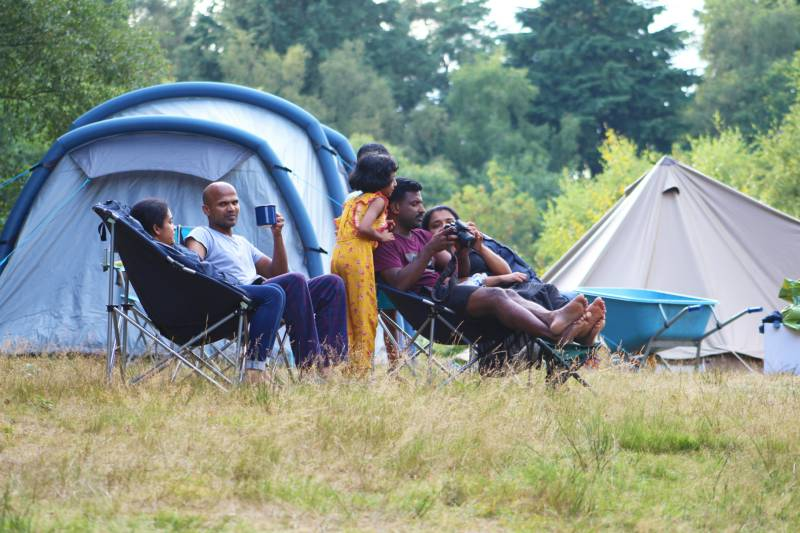Family camping at Beech Estate Campsite in Sussex