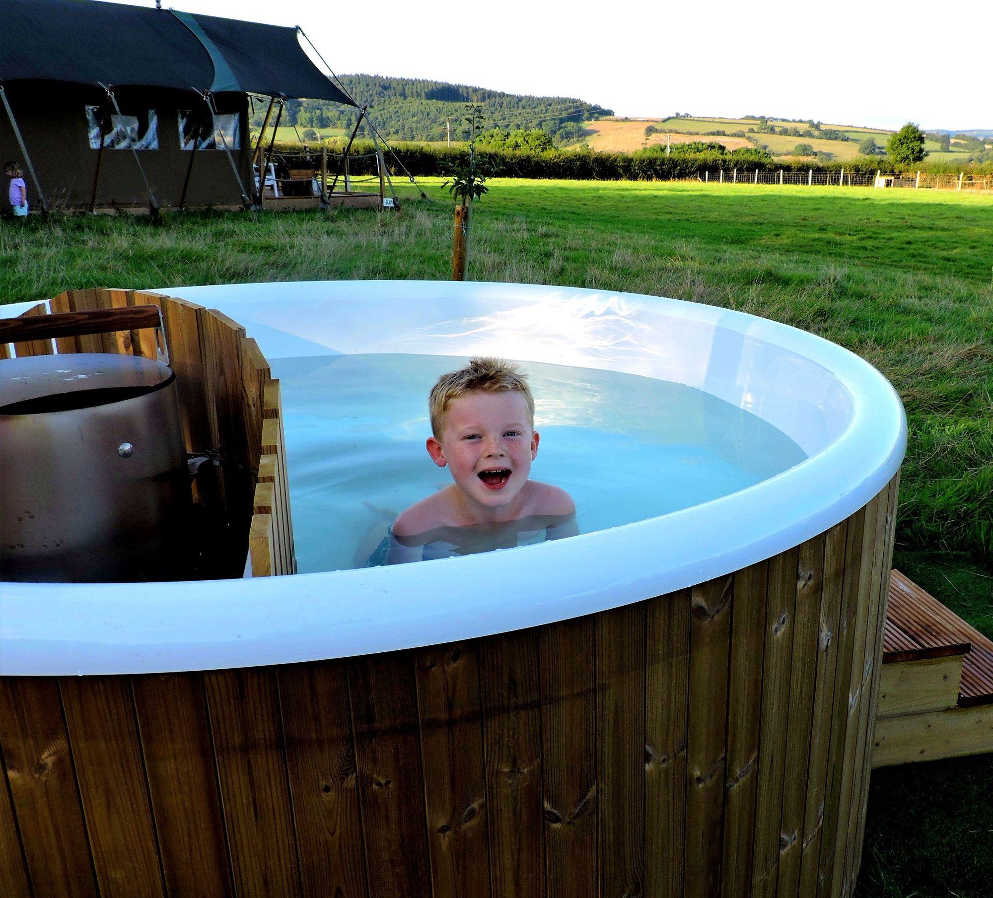 Each safari lodge has its own wood fired hot tub