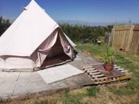 Bell tent glamping on a Cornish family farm