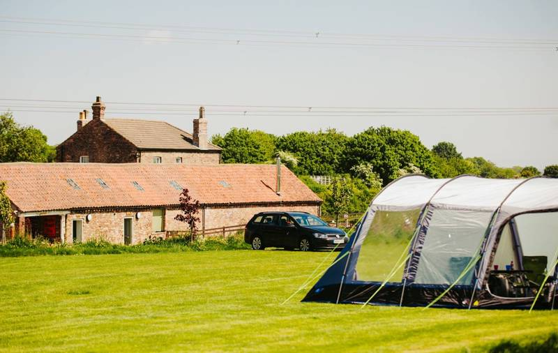 A tent pitched up at Butt Farm Campsite, Beverley, East Yorkshire.