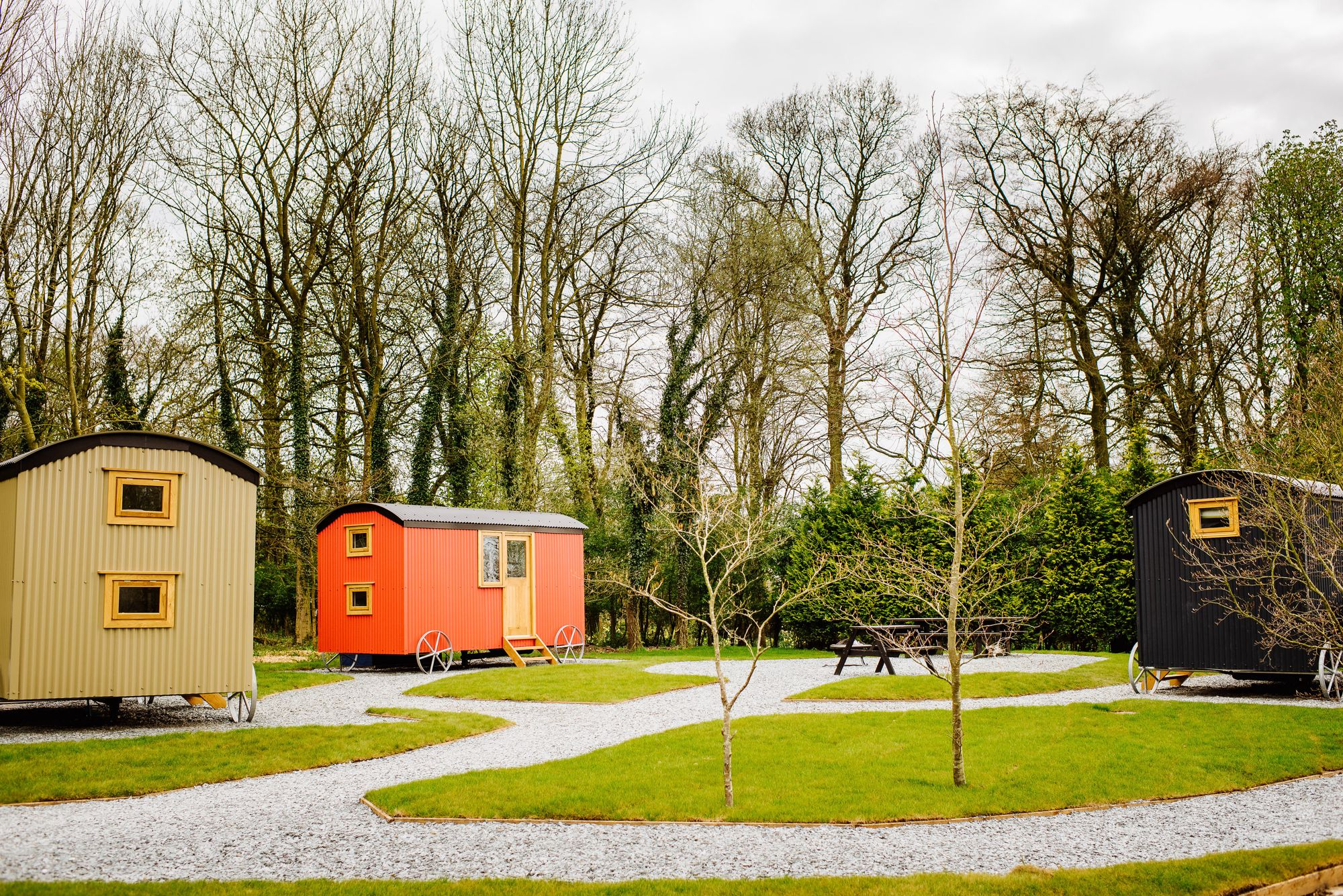 Luxurious shepherd's hut glamping in the grounds of 14th-century Samlesbury Hall in Lancashire.