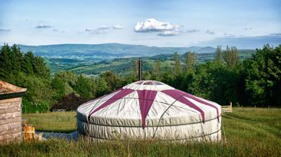 A yurt glamping site run by genuine yurt glamping experts on the edge of Builth Wells in Wales near the River Wye.