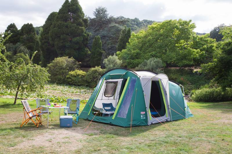 The Coleman MacKenzie 4 Blackout Tent pitched and ready for action.