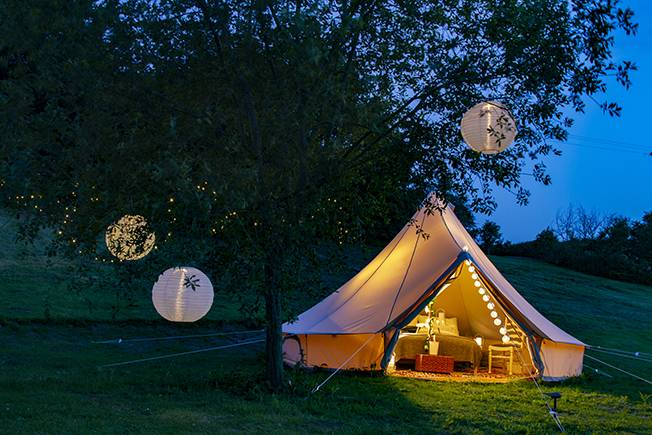Lloyds Meadow is home to six luxury bell tents, each sleeping two.