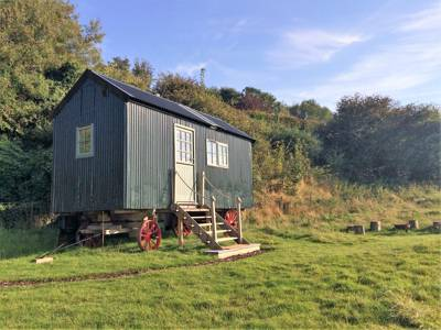 Revived Shepherd's Hut set in the Kent Downs