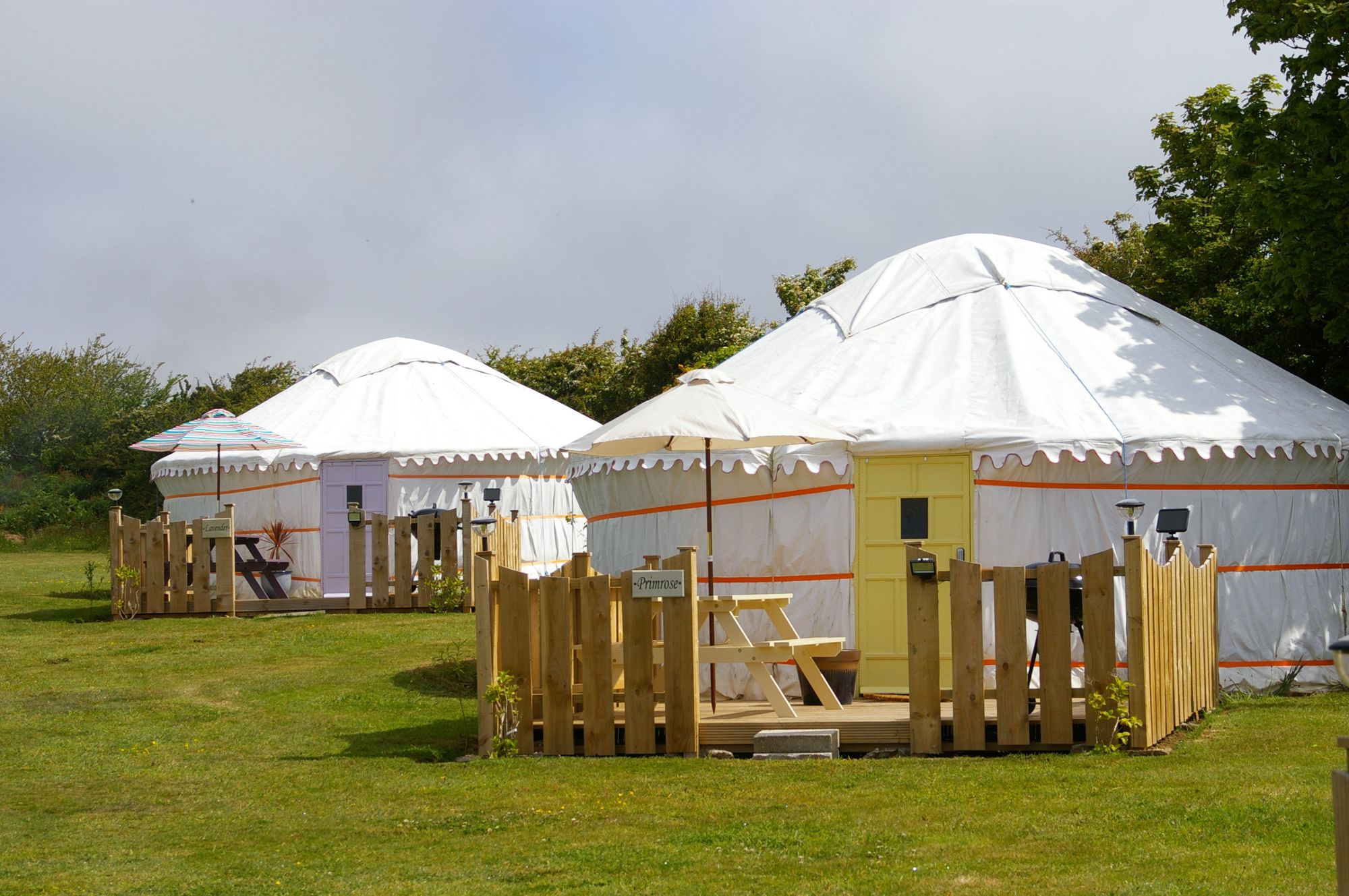 Luxury Mongolian yurts in North Cornwall, set in a prime inland location just ten minutes from the beaches of Perranporth.
