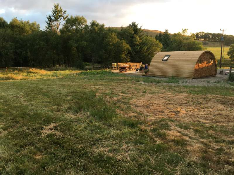 A private glamping pod with lovely views of the West Wales hills.