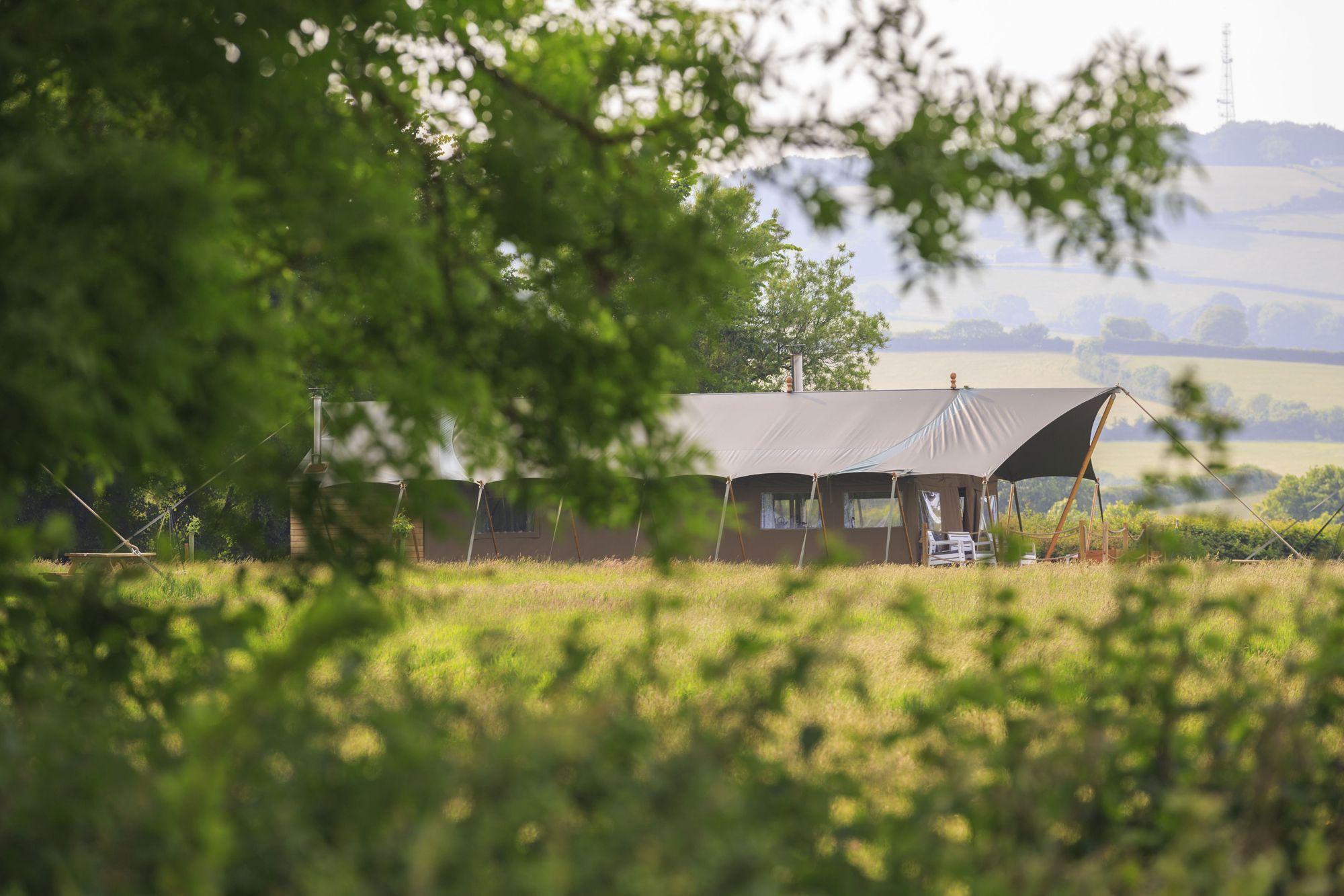 Kestrel Safari tent with Exmoor beyond.