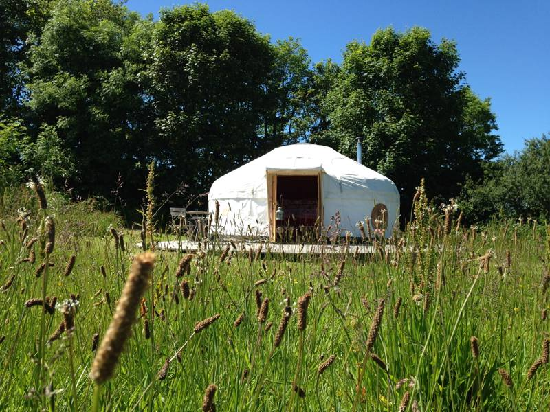 Family-sized yurt on the Cornish coast