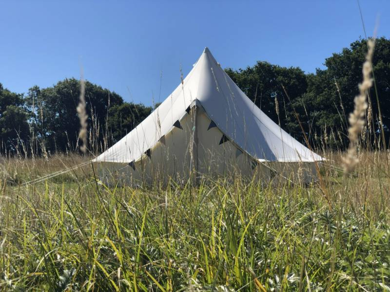 A bell tent at Latchetts Farm in Sussex.