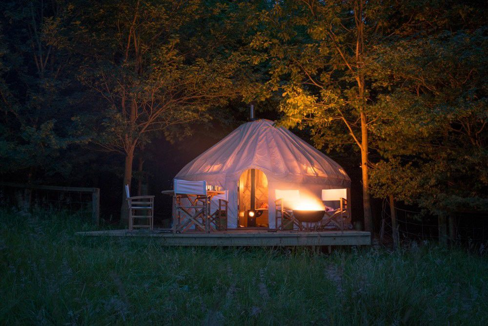 Three comfortable yurts tucked against the ancient woodland that dots the grounds of Newburgh Priory.