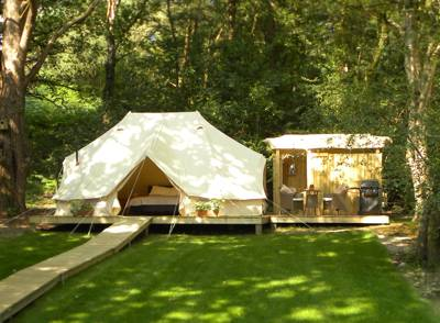 High-end glamping in a tree-fringed field, complete with kingsized beds, wood-burning stoves and private bathrooms.