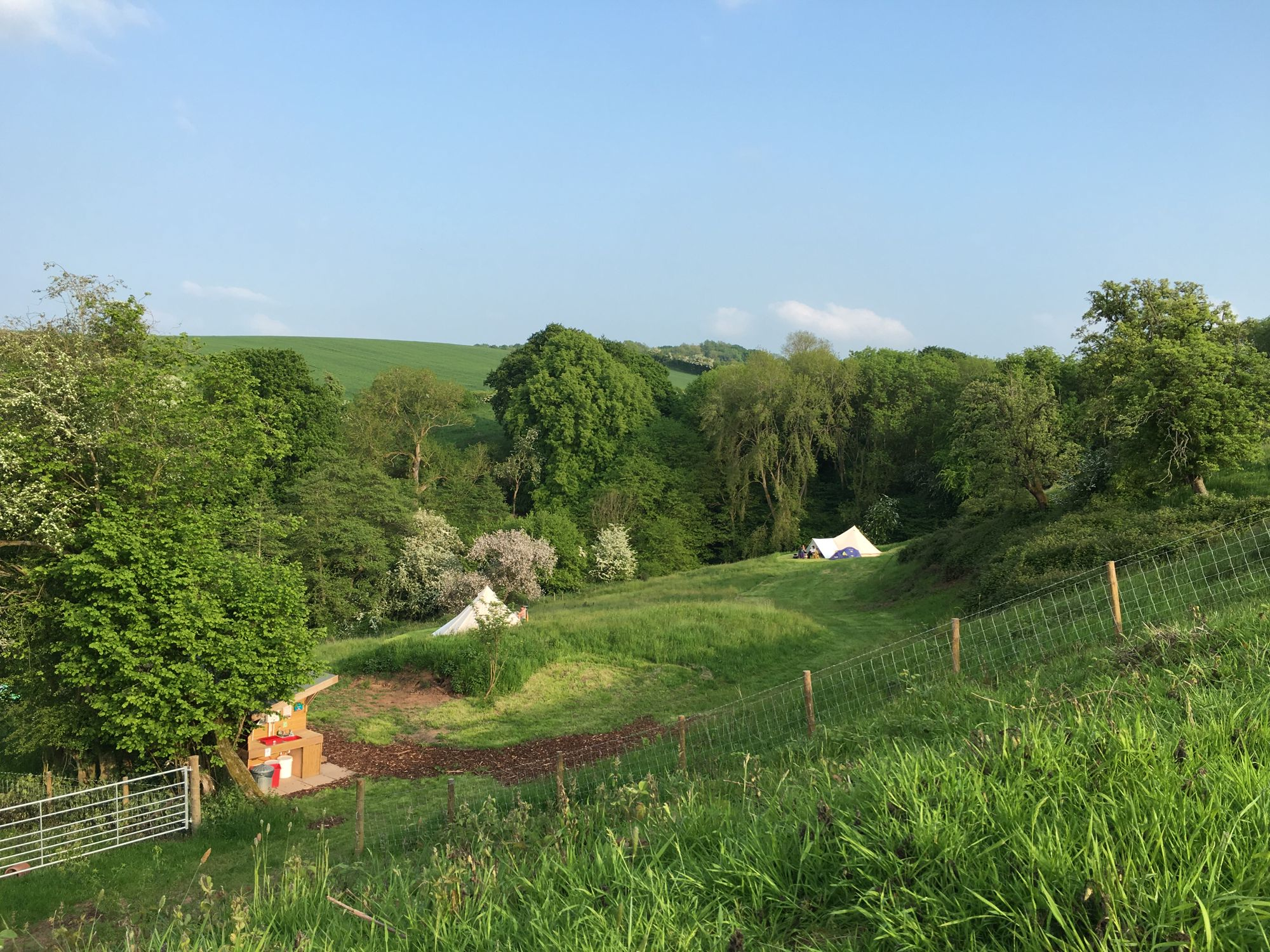 Enjoy stunning views over Teme Valley from the furnished bell tents.