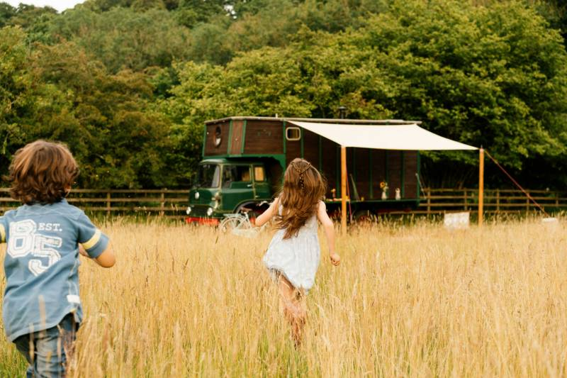 The horsebox is situated in a private five-acre meadow, so guests have plenty of space.