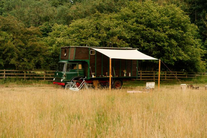 The converted Bedford horsebox, now a 'house box' at Abbeyfield Glamping in Northumberland.