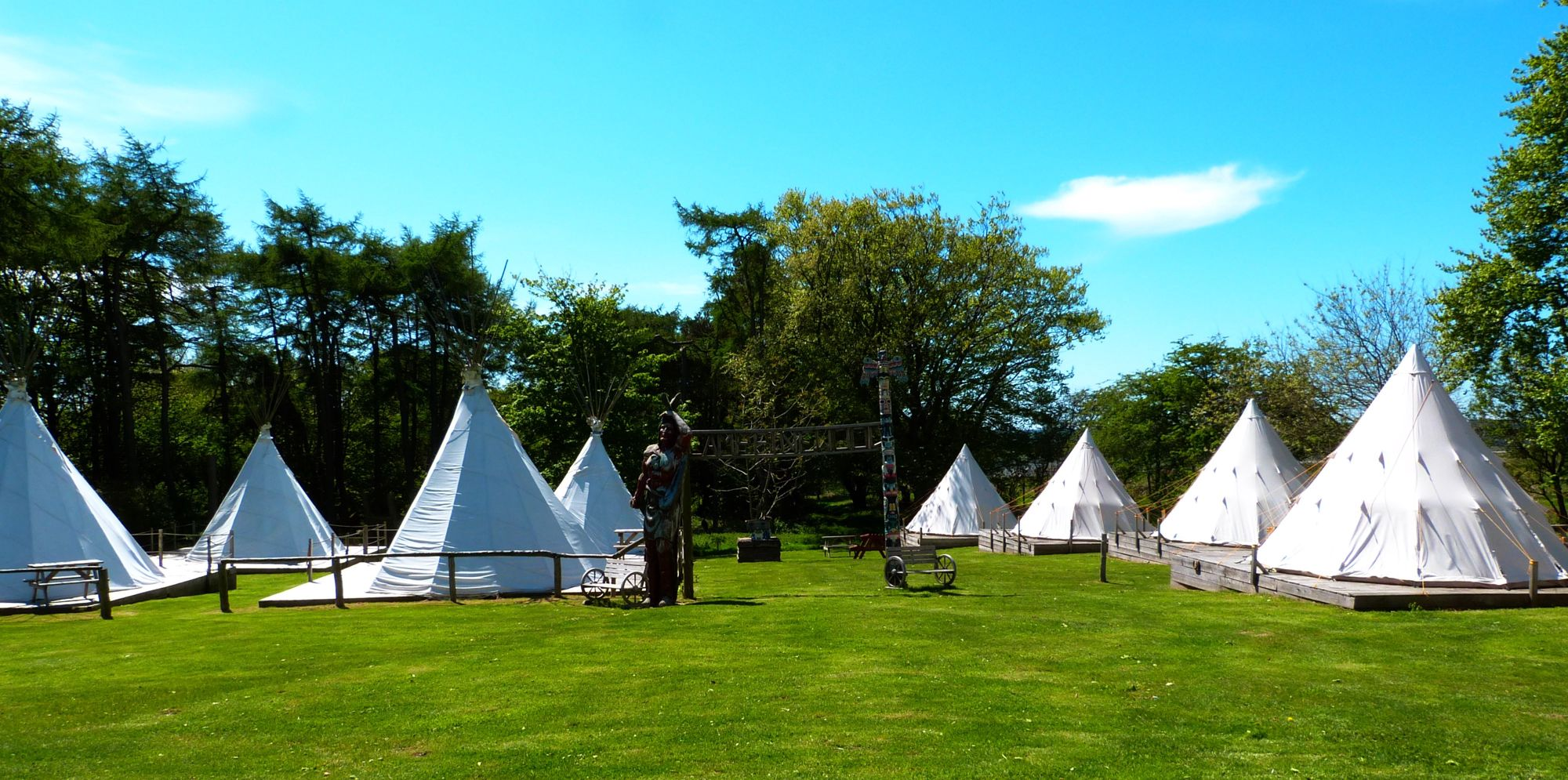 Pinewood Site view of Indian & modern Tipi tents
