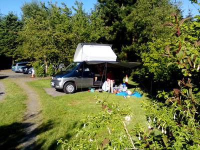 Campervan pitch with optional electric hookup