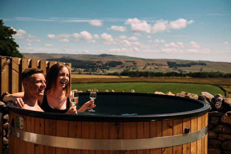 A hot tub at Peaks and Pods in North Yorkshire