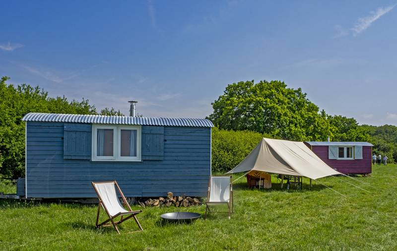 Ellenden Farm Glamping is near Whitstable in Kent and is home to three shepherd's huts and two bell tents.