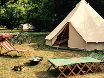 10 acres of blissful bell tent and gypsy caravan glamping near Thetford Forest in Norfolk.