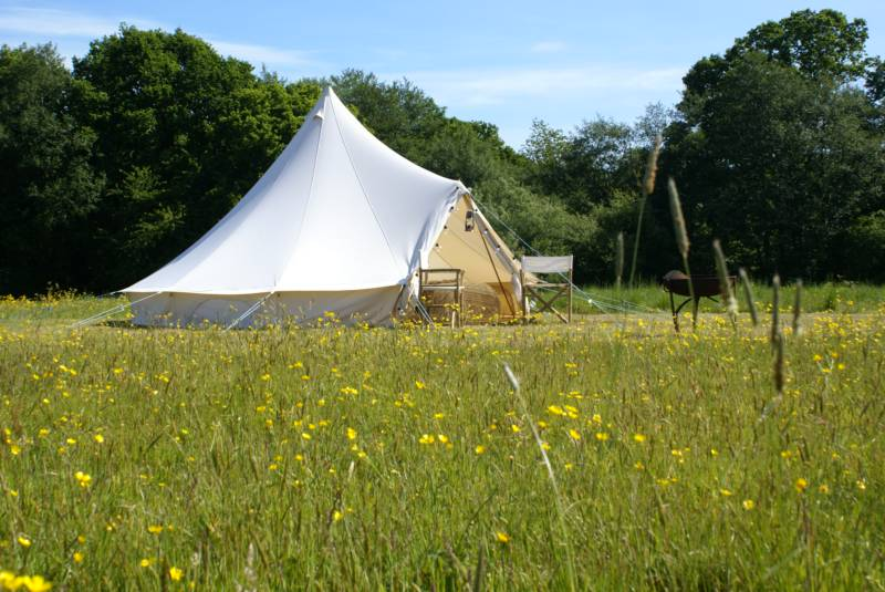 Family bell tent with double bedding