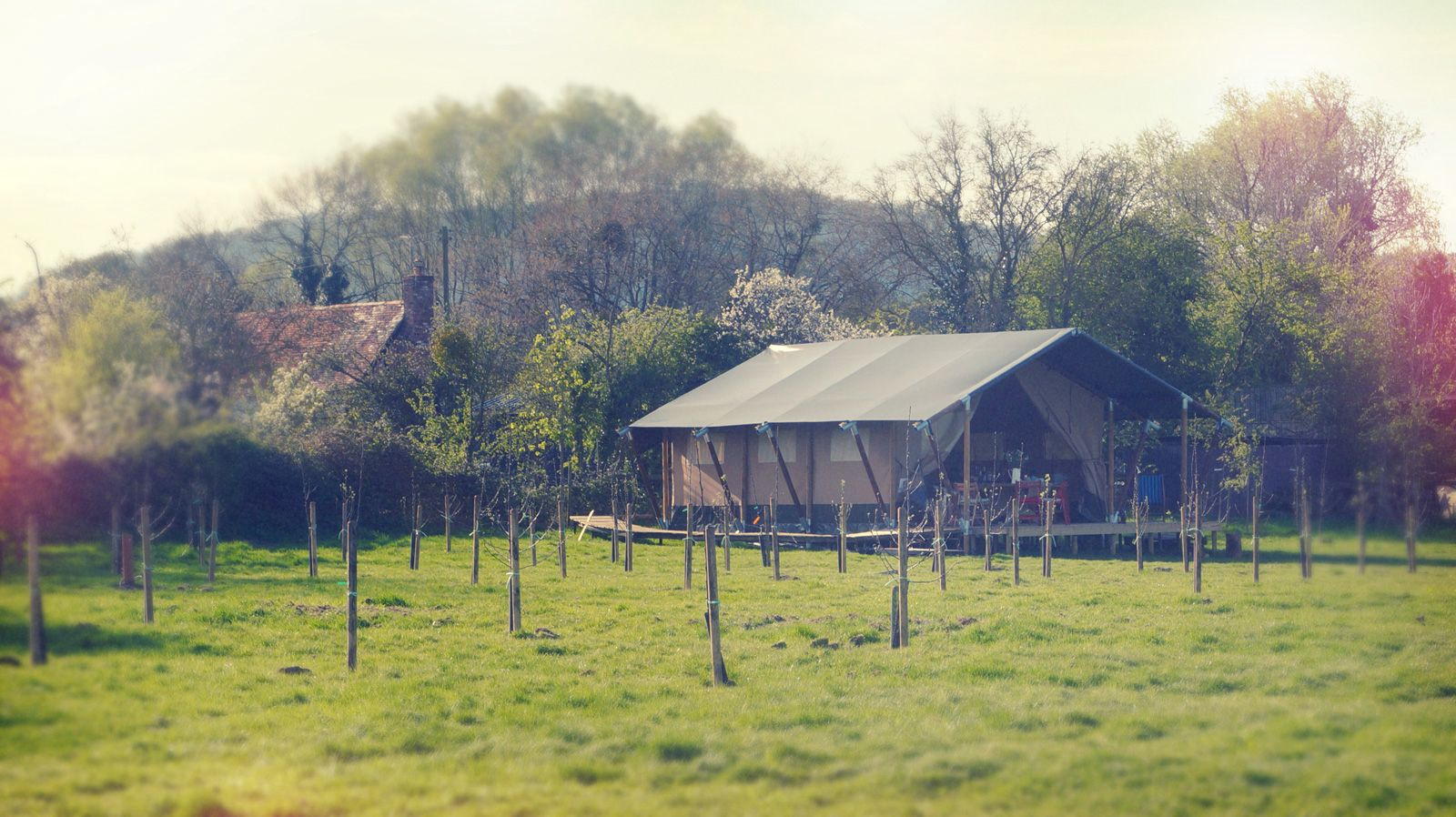 Glamping in Worcestershire: Boutique safari lodge glamping at the foot of the Malvern Hills.
