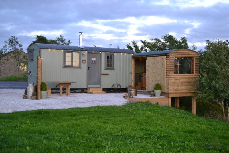 Luxury shepherd's hut in the Lancashire countryside
