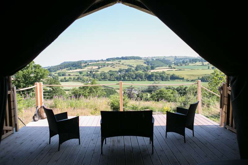 Luxurious Safari tent with private Hot tub in a glorious part of Wales
