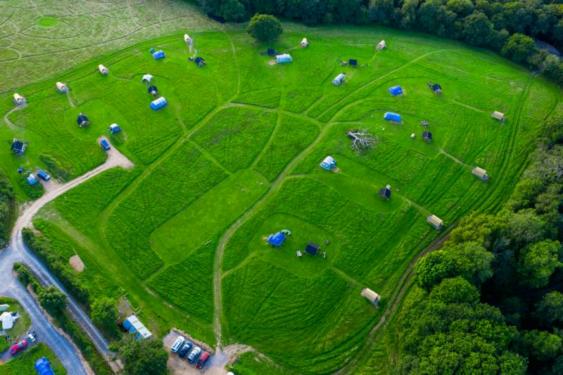 Cowpots Camping from the sky 2020 (with new undercover areas and ensuite toilet and shower pods!)
