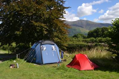 Lanefoot Farm Campsite - big blue tent and small red tent and Skiddaw