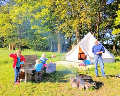 Glamping in Lancashire: Bell tent glamping on a working arable farm with a two acre wood in West Lancashire.