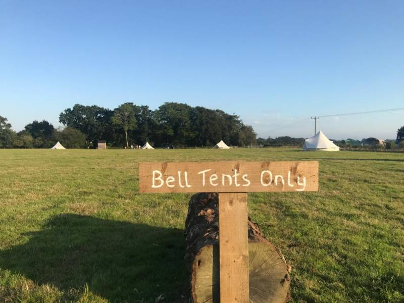 Simple summer bell tent set in the New Forest