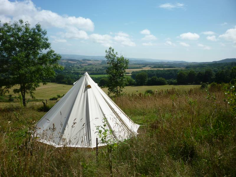 Bell tent glamping on a hill-top Devon farm