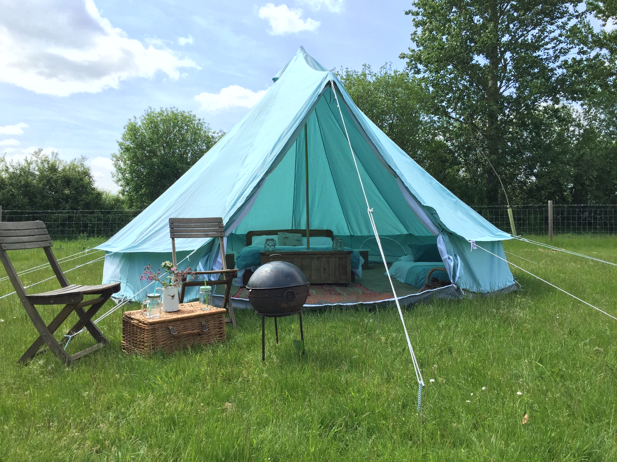 Bell tent glamping on a farm near the Blackwater Estuary in Essex.