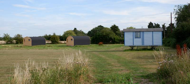 The glamping pods at Southey Creek Glamping in Essex, with a shepherd's hut coming soon.