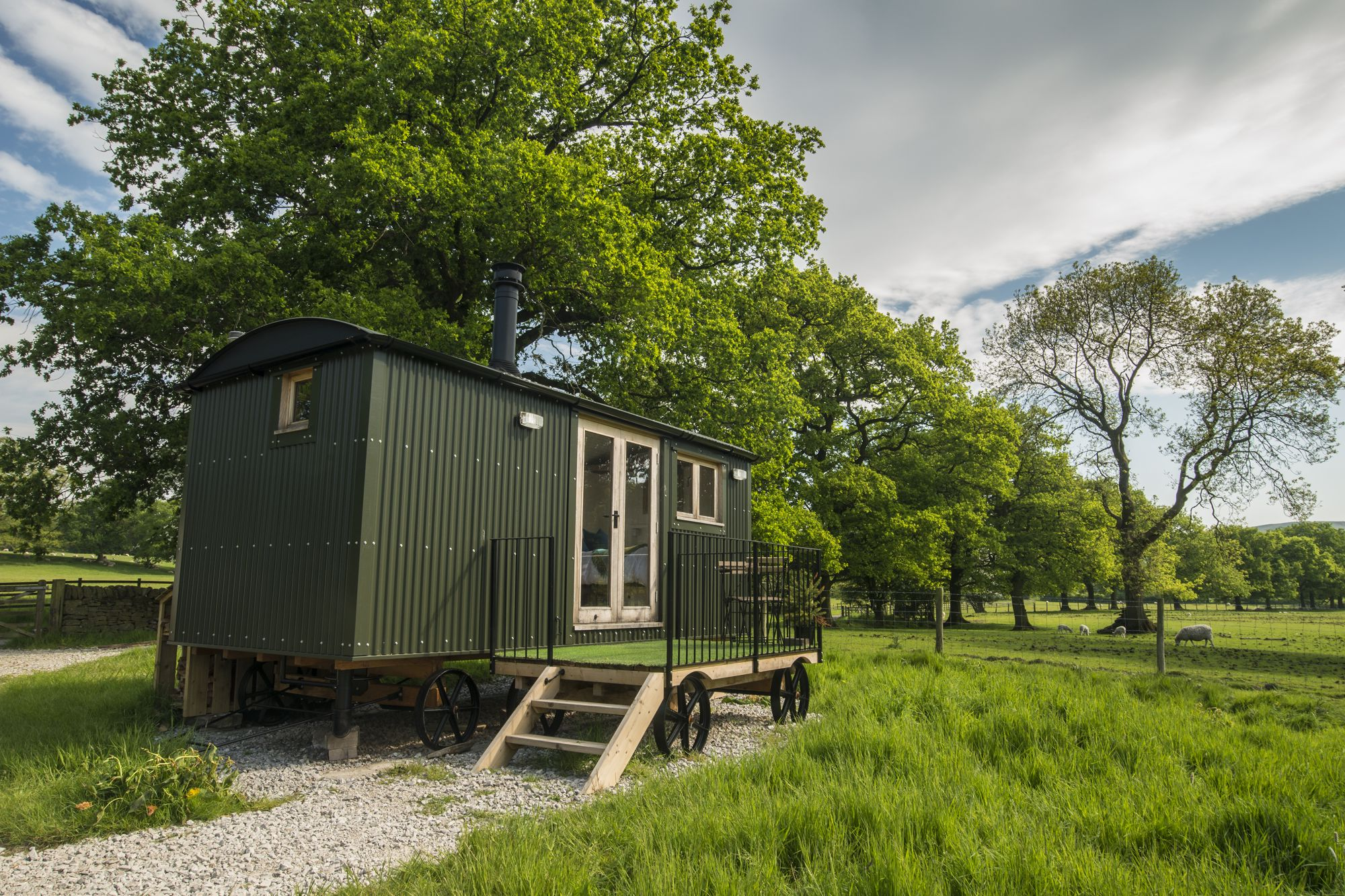 Shepherds hut at Whitelee Farm in the Peak District National Park.