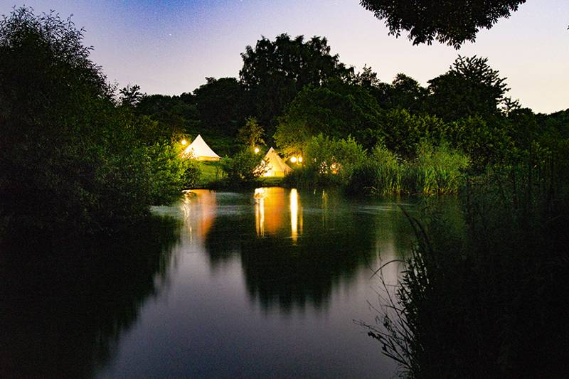 This adult-only retreat has a peaceful, enchanting feel come evening time.