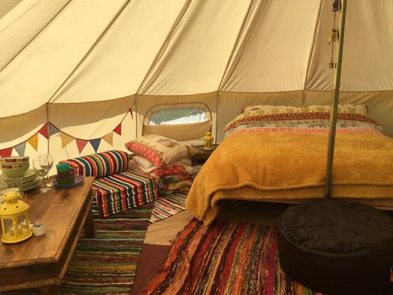 Bell tent camping on the Hampshire-Dorset border – with breakfast provided and goats in the garden.
