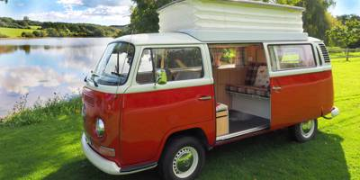 Take to the open road in one of the Isle of Wight's classic air cooled 1970's VW campers.